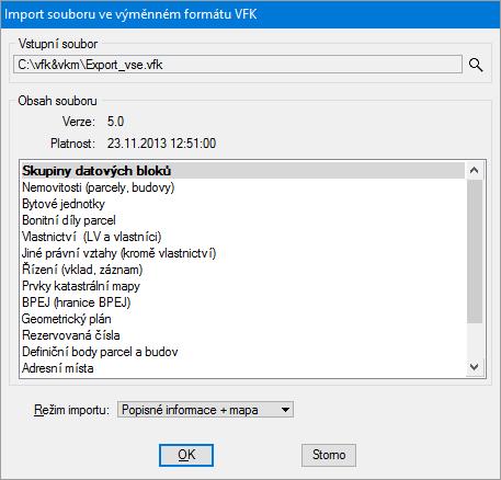 Dialogové okno Import souboru ve výměnném formátu VFK